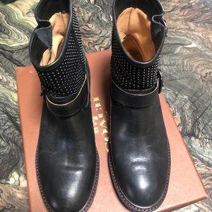 Coach studded biker boots